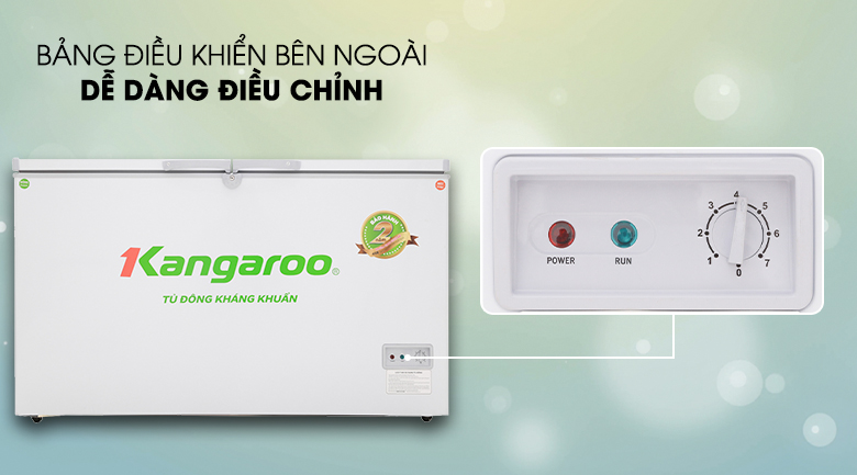 Dễ dàng điều chỉnh nhiệt độ với nút xoay đặt bên ngoài tủ - Tủ đông Kangaroo 418 lít KG418C2