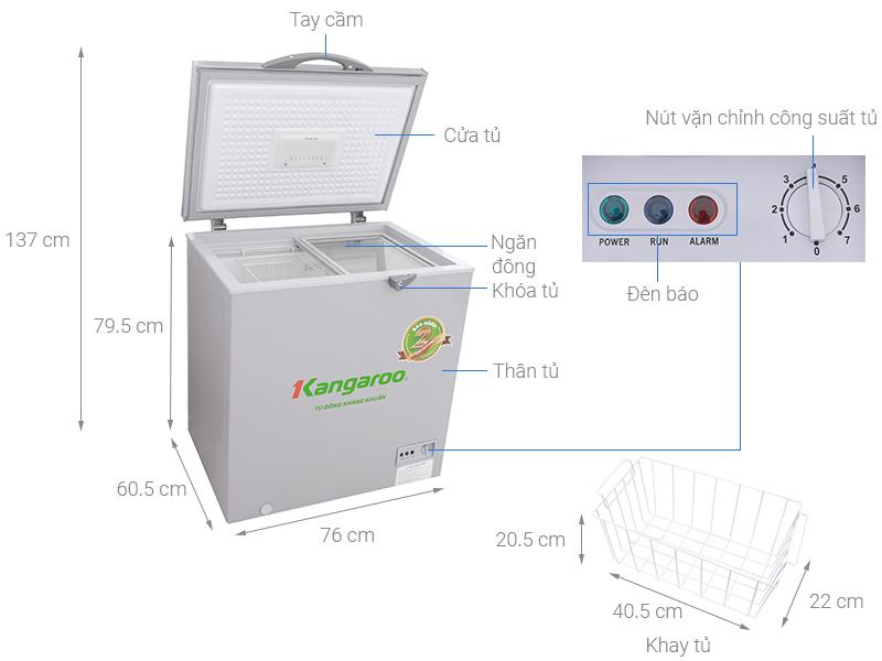 Thông số kỹ thuật Tủ đông Kangaroo 235 lít KG235VC1
