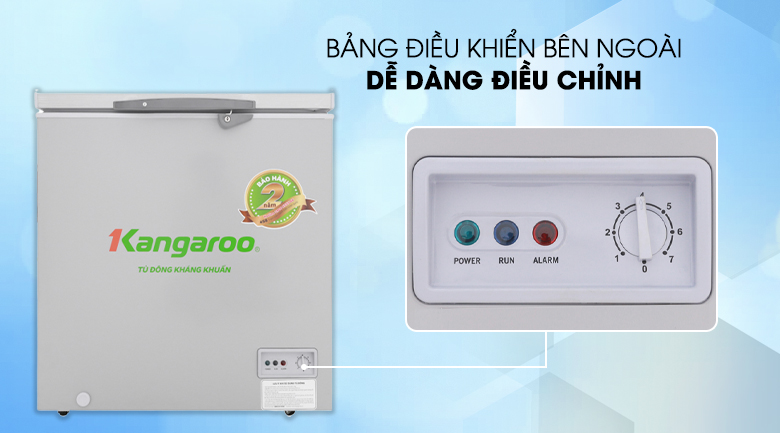 Nút điều chỉnh nhiệt độ bên ngoài tiện lợi, tiết kiệm điện - Tủ đông Kangaroo KG235VC1