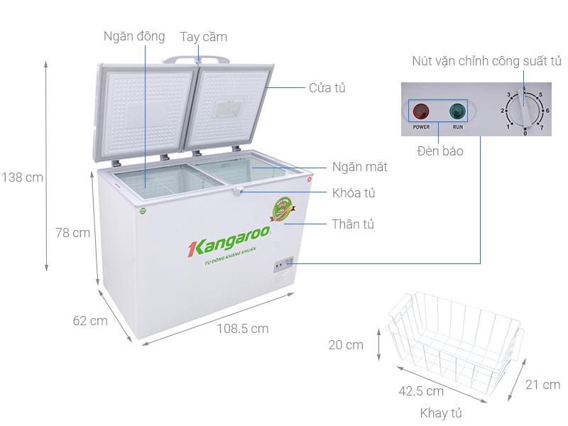 Thông số kỹ thuật Tủ đông Kangaroo 298 lít KG298C2