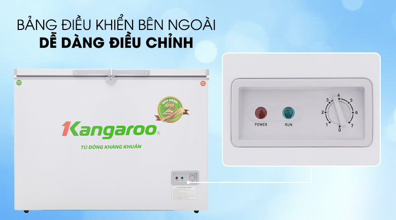 Nút điều chỉnh nhiệt độ bên ngoài tiện lợi, tiết kiệm điện - Tủ đông Kangaroo KG298C2