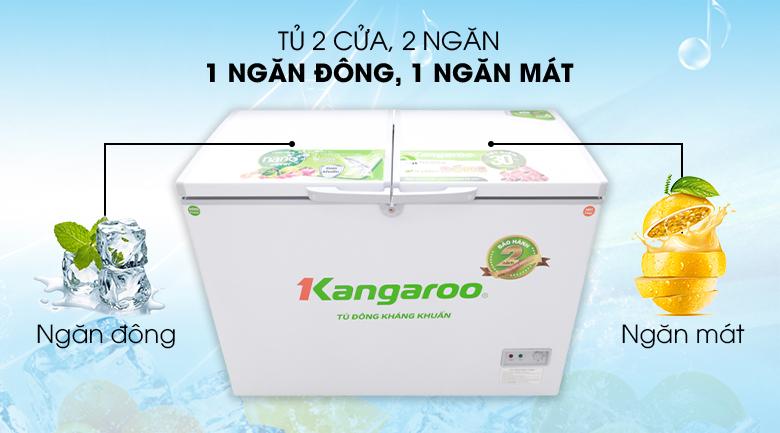 Tủ đông 2 ngăn, 2 cửa - Tủ đông Kangaroo 298 lít KG298C2