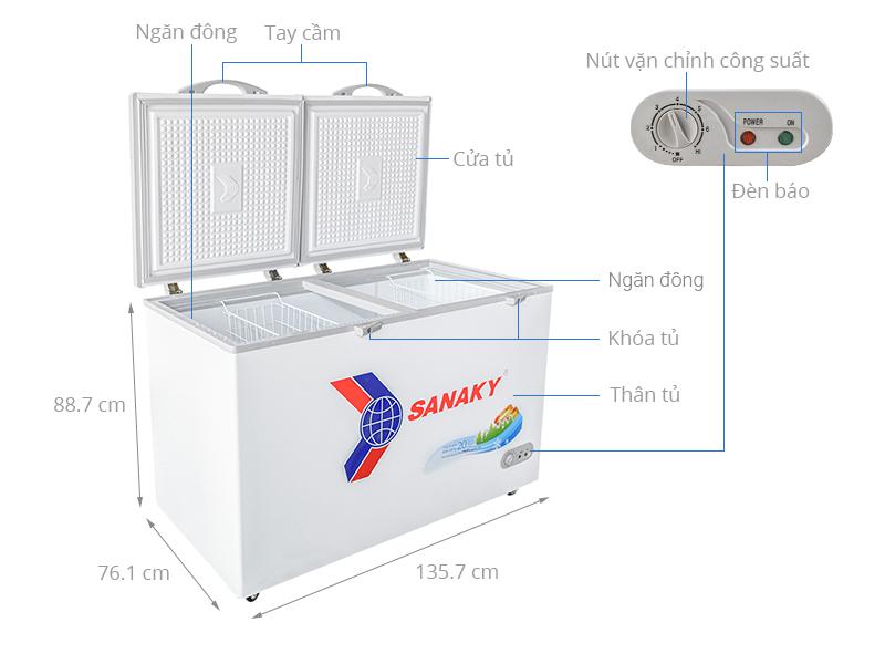 Thông số kỹ thuật Tủ đông Sanaky 410 lít VH 5699HY
