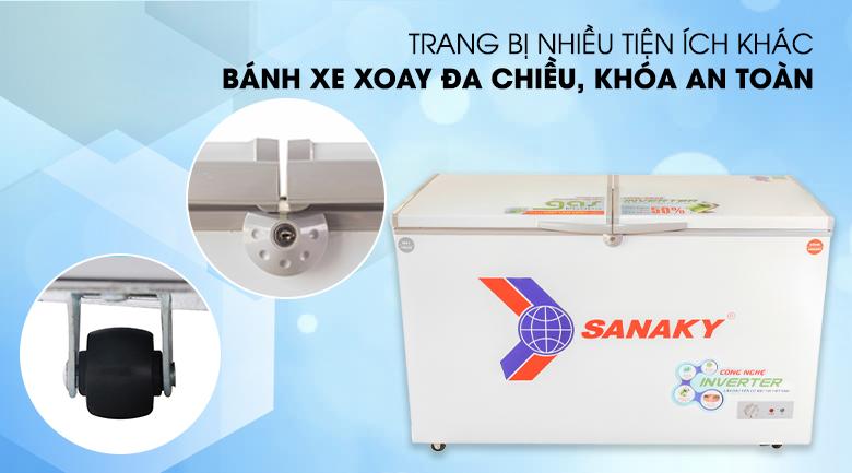 Tủ đông Sanaky VH-4099W3 với nhiều tiện ích nổi bật: bánh xe đẩy, khóa an toàn