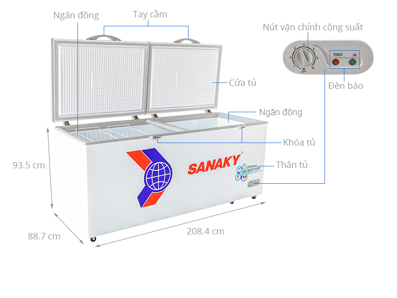 Thông số kỹ thuật Tủ đông Sanaky Inverter 761 lít VH-8699HY3