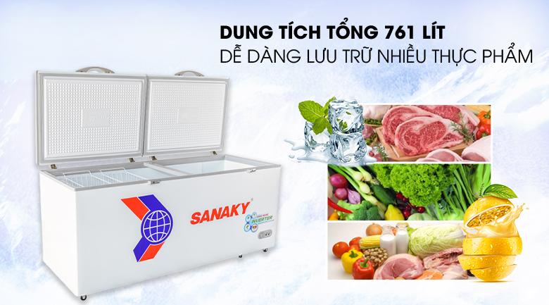 Tủ đông Sanaky VH-8699HY3 có dung tích lớn lưu trữ nhiều thực phẩm