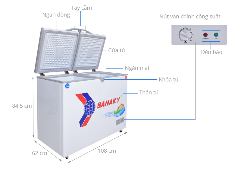Thông số kỹ thuật Tủ đông Sanaky 220 lít VH-2899W1
