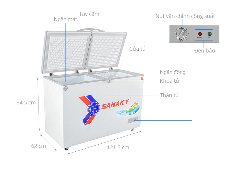 Thông số kỹ thuật Tủ đông Sanaky 260 lít VH-3699W1
