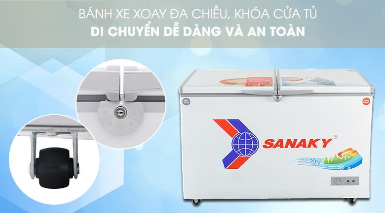 Có khóa an toàn, bánh xe tiện lợi - Tủ đông Sanaky VH-3699W1