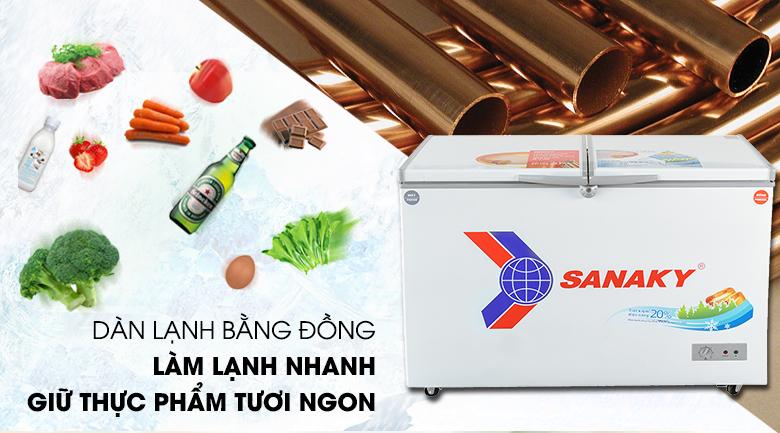 Dàn lạnh đồng nguyên chất - Tủ đông Sanaky VH-3699W1