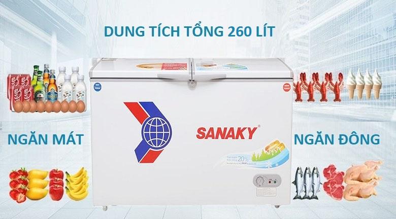 Dung tích 260 lít - Tủ đông Sanaky VH-3699W1