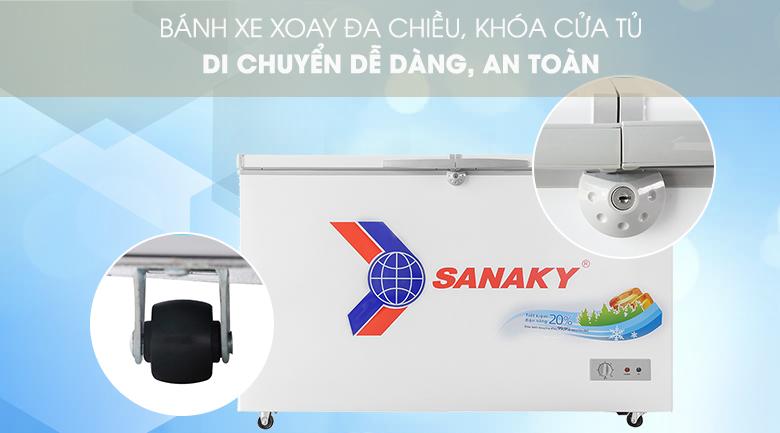 Trang bị bánh xe, khóa an toàn tiện lợi - Tủ đông Sanaky 305 lít VH-4099A1