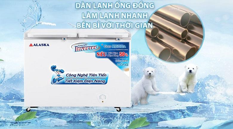 Dàn lạnh ống đồng - Tủ đông Alaska Inverter 350 lít FCA 3600CI
