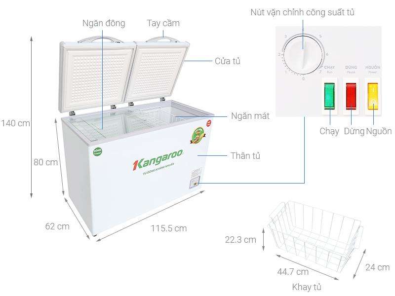 Thông số kỹ thuật Tủ đông Kangaroo 252 lít KG 400NC2