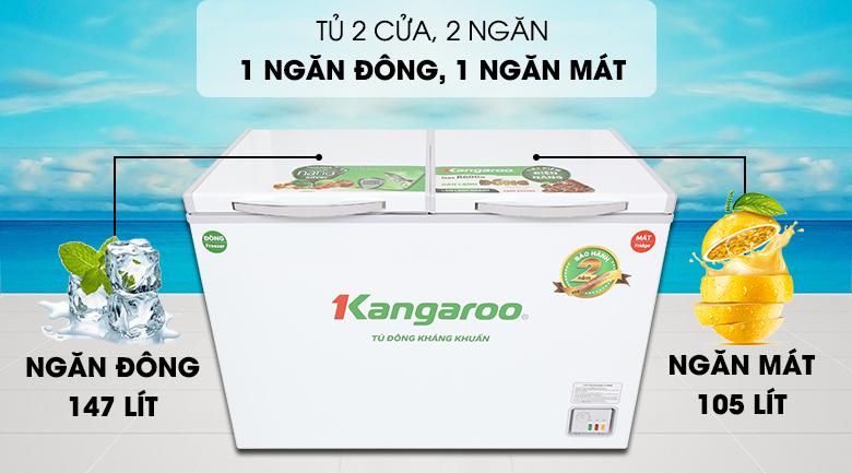 Tủ đông Kangaroo 252 lít KG 400NC2 - Tiện lợi, dễ sử dụng với tủ đông 2 nắp dở