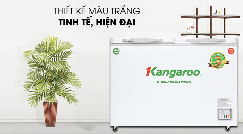Thiết kế nổi bật bởi gam màu trắng tinh tế, hiện đại - Tủ đông Kangaroo 252 lít KG 400NC2