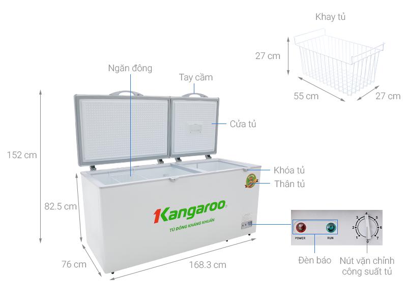Thông số kỹ thuật Tủ đông Kangaroo 490 lít KG 809C1