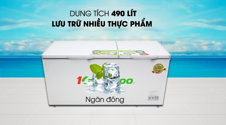Tủ đông Kangaroo 490 lít KG 809C1 - Dung tích 490 lít, phù hợp cho quán ăn, nhà hàng và siêu thị