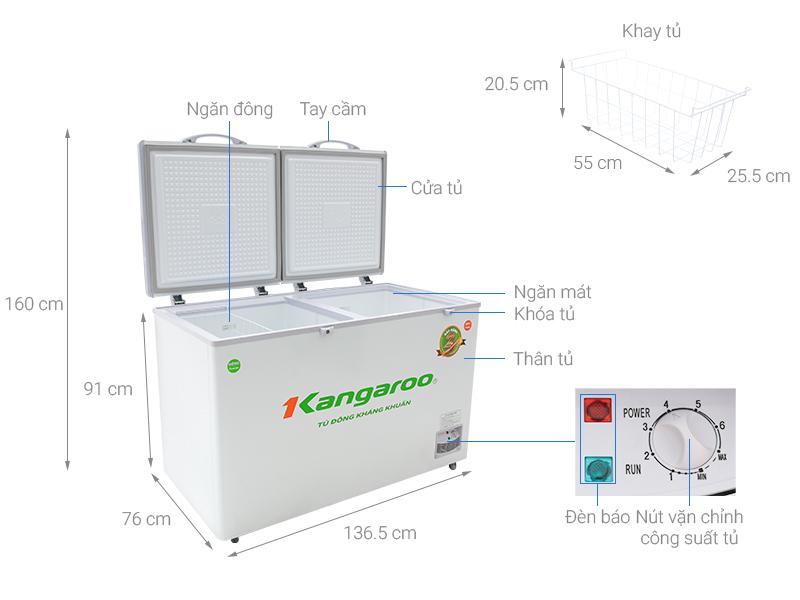 Thông số kỹ thuật Tủ đông Kangaroo 372 lít KG 566C2