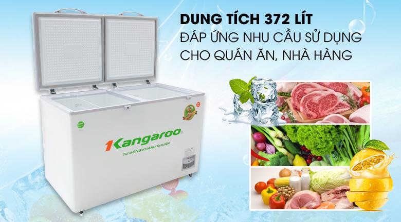 -Tủ đông Kangaroo 372 lít KG 566C2 - Dung tích 372 lít, đáp ứng bảo quản thực phẩm cho quán ăn, nhà hàng và siêu thị