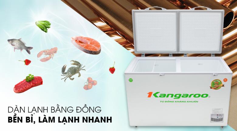 Tủ đông Kangaroo 372 lít KG 566C2 - Tiết kiệm thời gian làm đông thực phẩm với dàn lạnh bằng đồng nguyên chất bền lâu