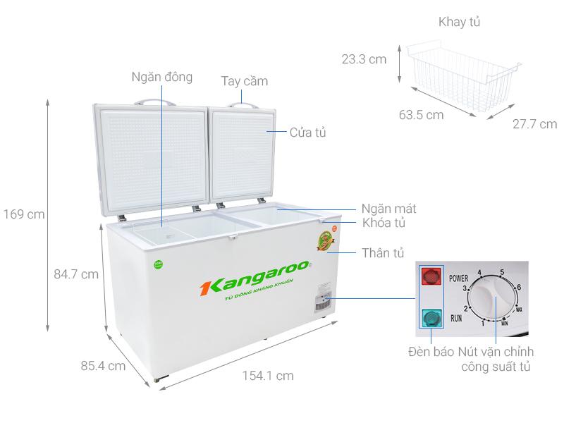Thông số kỹ thuật Tủ đông Kangaroo 471 lít KG 688C2
