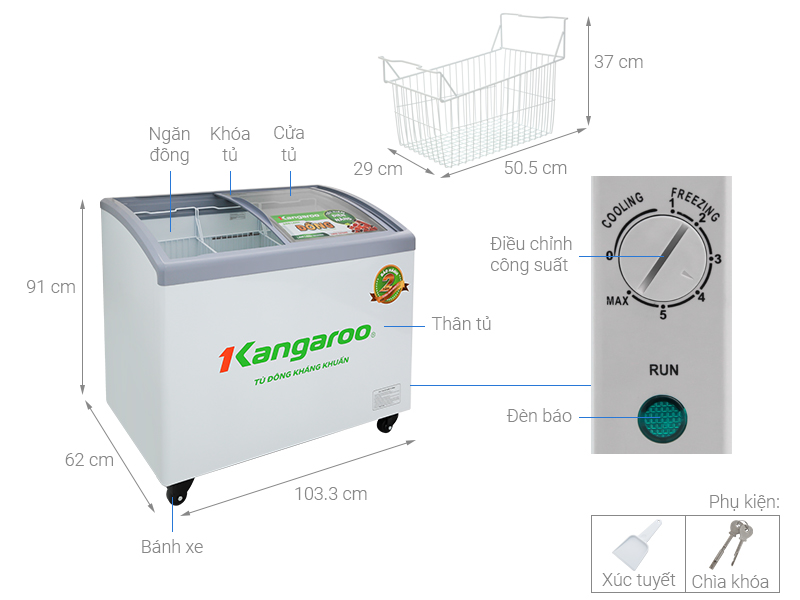 Thông số kỹ thuật Tủ đông Kangaroo 248 lít KG308C1