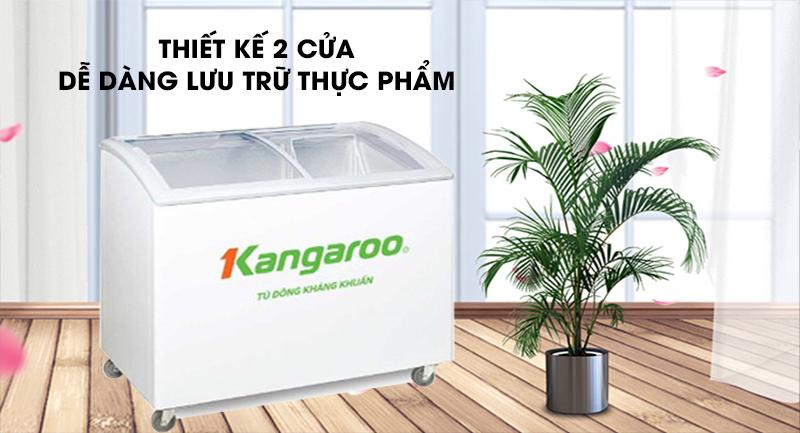 Tủ đông Kangaroo 248 lít KG308C1-Thiết kế 2 cửa, dễ dàng lưu trữ thực phẩm