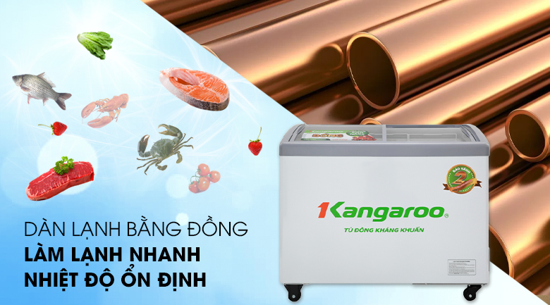 Tủ đông Kangaroo 248 lít KG308C1 - Nhanh chóng làm đông thực phẩm với dàn lạnh bằng đồng nguyên chất