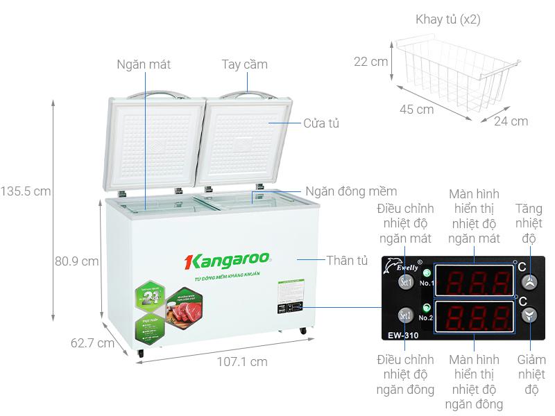 Thông số kỹ thuật Tủ đông mềm Kangaroo 212 lít KG 328DM2
