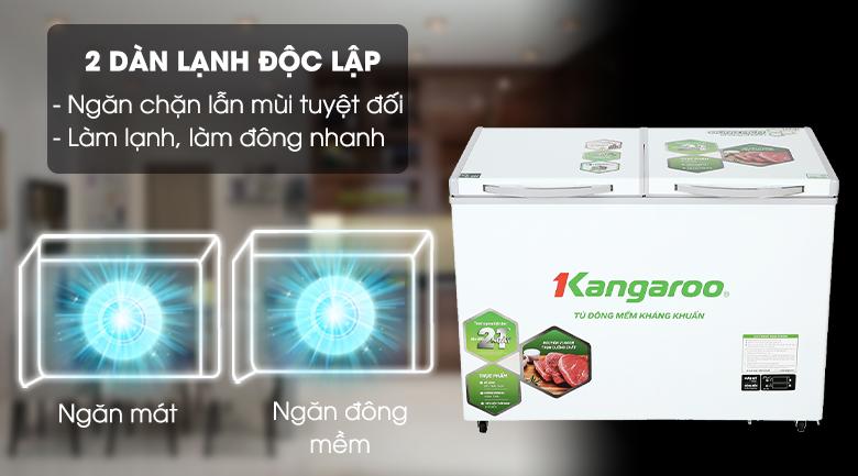 Công nghệ 2 dàn lạnh độc lập - Tủ đông mềm Kangaroo 212 lít KG 328DM2