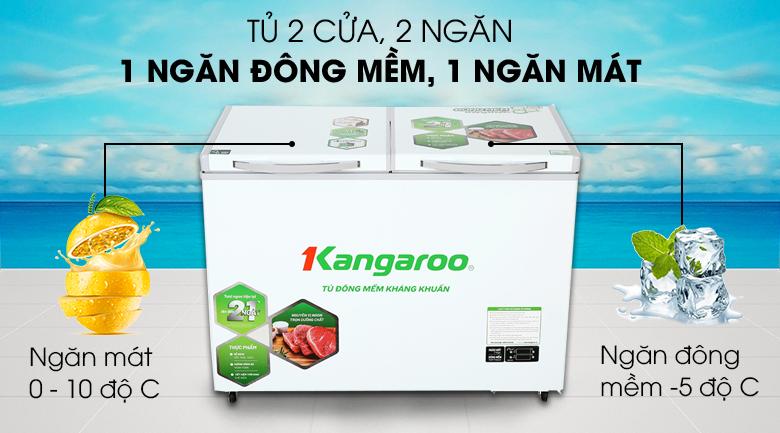 Tủ đông mềm Kangaroo 212 lít KG 328DM2 - 2 ngăn gồm 1 ngăn đồng mềm và 1 ngăn mát