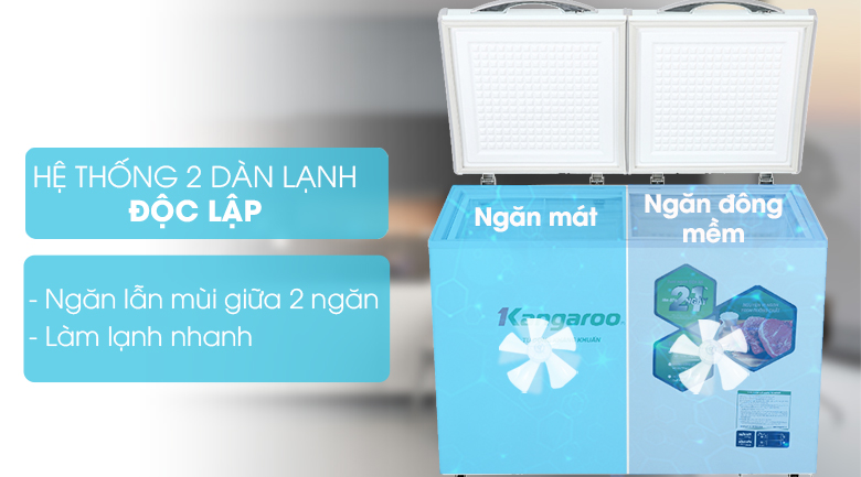 Công nghệ 2 dàn lạnh độc lập - Tủ đông mềm Kangaroo 252 lít KG 400DM2