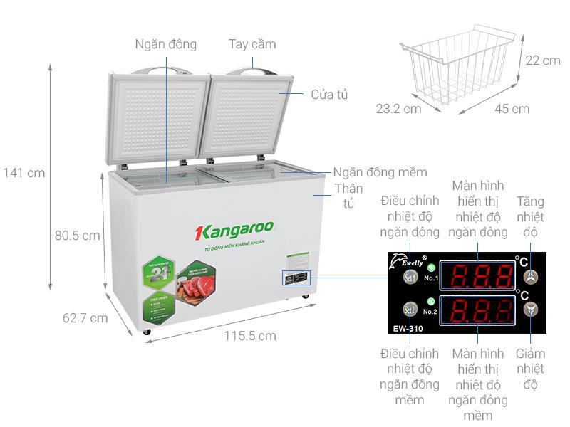 Thông số kỹ thuật Tủ đông mềm Kangaroo 252 lít KG 408S2
