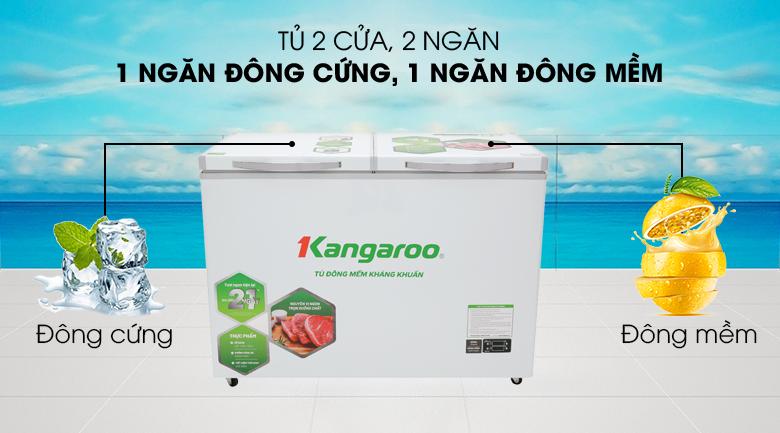 Thiết kế 2 cửa, 2 ngăn đông mềm và đông - Tủ đông mềm Kangaroo 252 lít KG 408S2