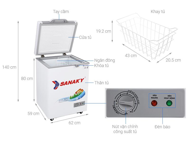 Thông số kỹ thuật Tủ đông Sanaky 100 lít VH-1599HYK