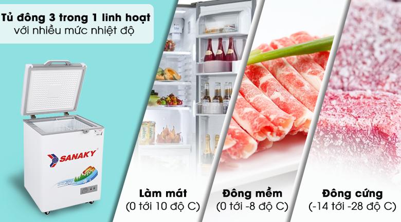 Tủ đông Sanaky 100 lít VH-1599HYK - Tủ đông 3 trong 1 với nhiều mức nhiệt độ lựa chọn