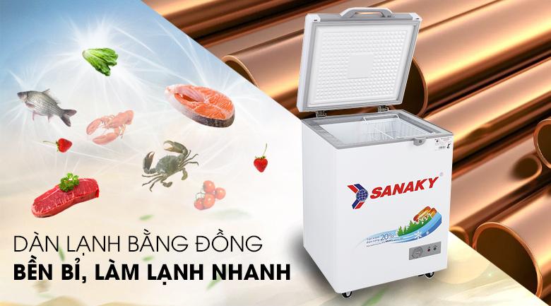 Tủ đông Sanaky 100 lít VH-1599HYK - Dàn lạnh bằng đồng