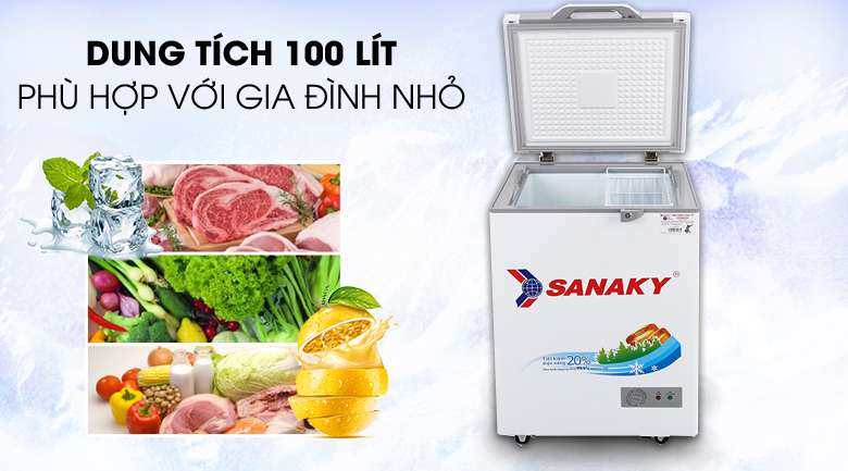 Tủ đông Sanaky 100 lít VH-1599HYK - Dung tích