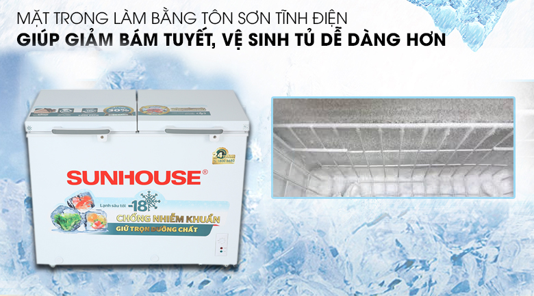 Tủ đông Sunhouse 225 lít SHR-F2272W2 - Sơn tĩnh điện bên trong