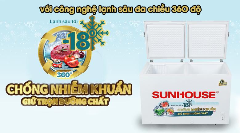 Tủ đông Sunhouse 300 lít SHR-F2412W2 - Làm lạnh 360 độ
