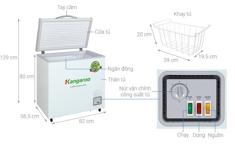 Thông số kỹ thuật Tủ đông Kangaroo 140 lít KG 265NC1
