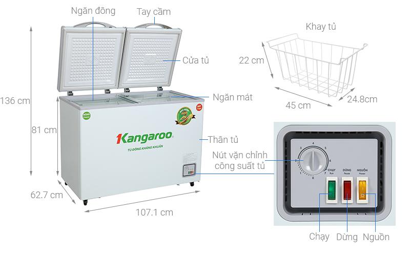 Thông số kỹ thuật Tủ đông Kangaroo 212 lít KG 328NC2