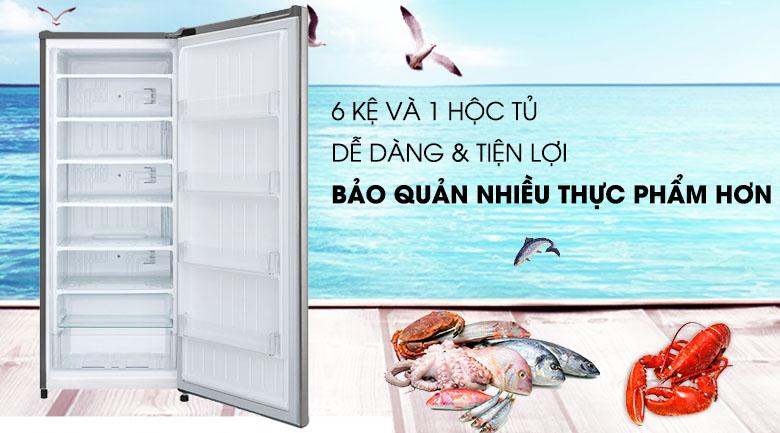 Tủ đông LG 165 lít GN-F304PS - Bảo quản dễ dàng nhiều loại thực phẩm với 6 kệ và 1 hộc tủ