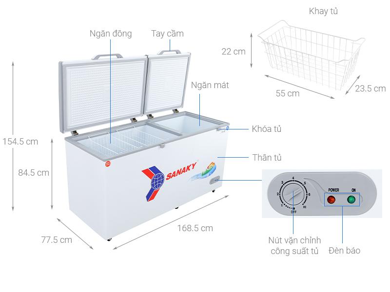Thông số kỹ thuật Tủ đông Sanaky 485 lít VH-6699W1