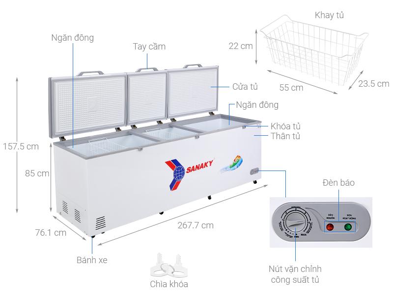 Thông số kỹ thuật Tủ đông Sanaky 900 lít VH-1199HY
