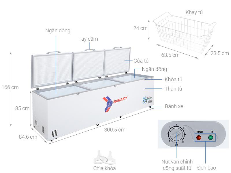 Thông số kỹ thuật Tủ đông Sanaky 1143.5 lít VH-1399HY3