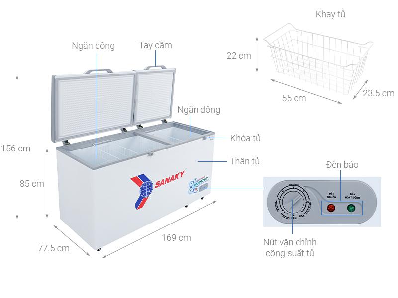 Thông số kỹ thuật Tủ đông Sanaky 530 lít VH-6699HY3
