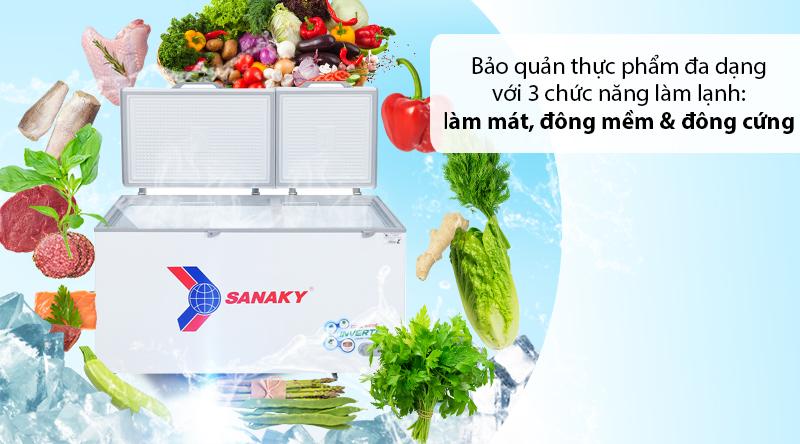 Tủ đông Sanaky 530 lít VH-6699HY3 - 3 chức năng làm lạnh