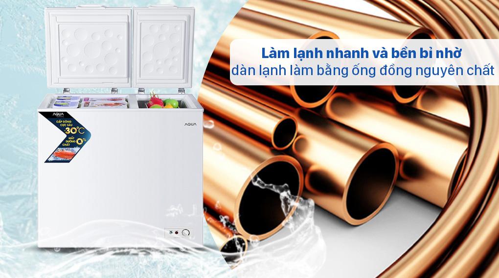 Tủ đông AQUA 211 lít AQF-C3102S - Dàn lạnh làm bằng ống đồng nguyên chất